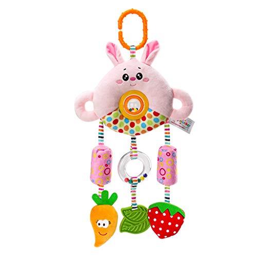 cookin Juguete educativo para niños, diseño de dibujos animados, campanilla colgante de peluche, juguete de desarrollo multifuncional con sonajero