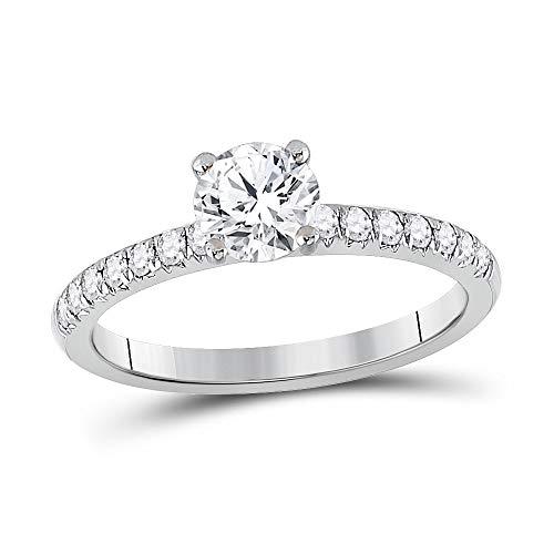 Diamond2Deal Anillo de compromiso de oro blanco de 14 quilates con diamante redondo solitario de 1 quilates