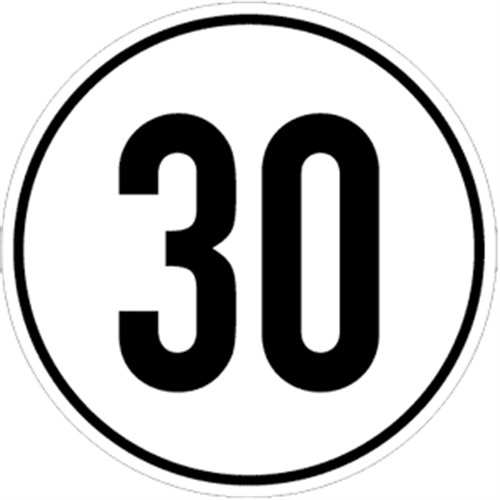 Aufkleber Geschwindigkeitsschild 30 km/h, Folie selbstklebend 20 cm Ø (Kraftfahrzeugschild, Kilometerschild, Höchstgeschwindigkeit) praxisbewährt, wetterfest