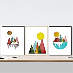 Nacnic Prints Nordic Style Geometrical Mountains - Set of 3-250g Paper - Beautiful Poster Painting for Home Office Living Room