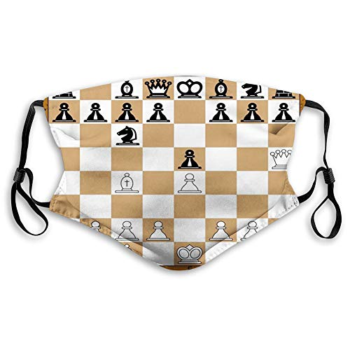 Comfortable Printed mask,Board Game, Opening Position on Chessboard Letters Numbers Squares Pieces Print,Brown Pale Brown Black,Windproof Facial decorations for Adults Size:M