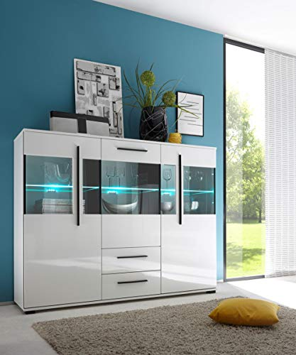 Newfurn Highboard Sideboard Modern Kommode Standschrank Hochschrank II 160x126x 42 cm (BxHxT) II [Luca.Ten] in Weiß/Weiß Hochglanz Wohnzimmer Schlafzimmer Esszimmer