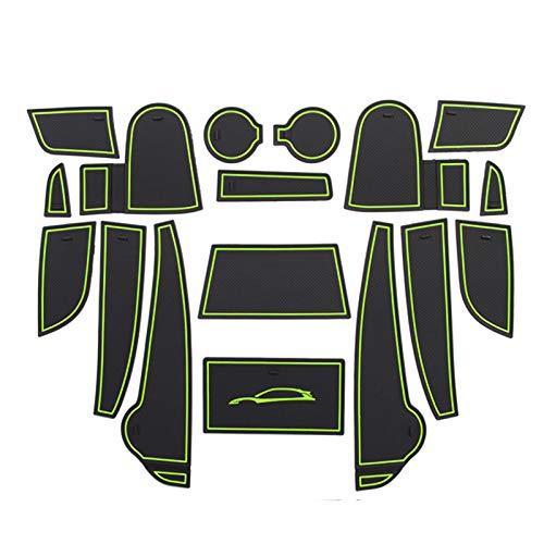 LFOTPP Kona Alfombrillas Antideslizantes de Goma, Posavasos Alfombra Apoyabrazos Coche Interior Accesorios 16 Piezas (Verde)