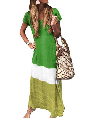 Yesgirl Mujeres Boho Vestido Largo Verano Elegante Casual Playa Cuello V Manga Corta Largos Verano Suelto Loques De Colores Maxi Vestido Playeros Vacaciones