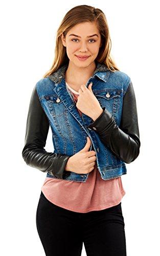 WallFlower Women's Juniors Faux Leather Denim Jacket in Tessa, Small