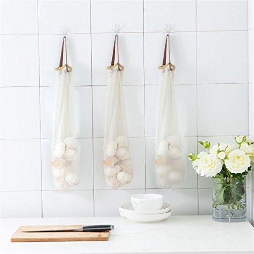 Gugutogo 1PCS nuovo la cipolla aglio patata appeso borse Hollow Out mesh traspirante borsa maniglia di verdure Kitchen Storage Bag (colore: Bianco)