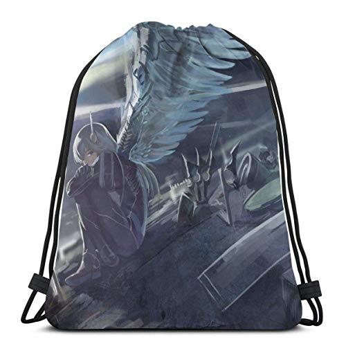 AmyNovelty Mochila Cordónes,Anime Girl Soldier Rifle Cinch Bag, Llamativas Mochilas con Cordón para Adultos, Escalada, Viaje,36x43cm