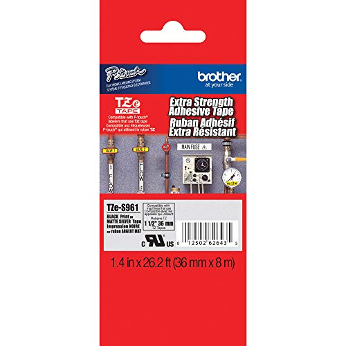 """Brother Genuine P-touch TZE-S961 Tape1-1/2"""" (1.4"""") Wide Extra-Strength Adhesive Laminated Tape,Black on Matte Silver Laminated for Indoor or Outdoor,Water-Resistant, 1.4"""" x 26.2' (36mm x 8M),TZES961"""