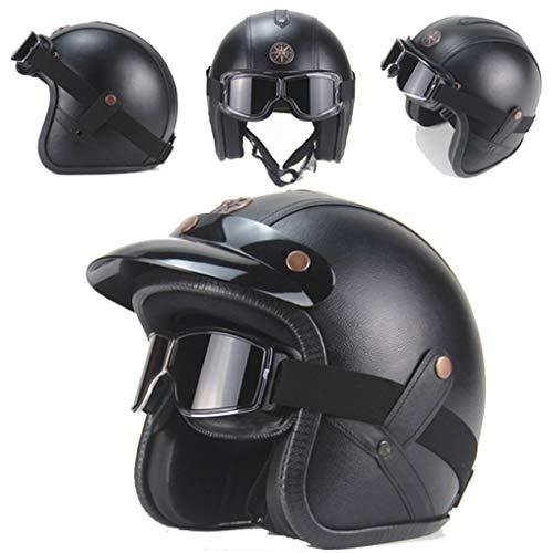 OLEEKA Casco de cuero artificial 3/17 Motocicleta Chopper Casco de bicicleta Cascos de motocicleta vintage con máscara de gafas