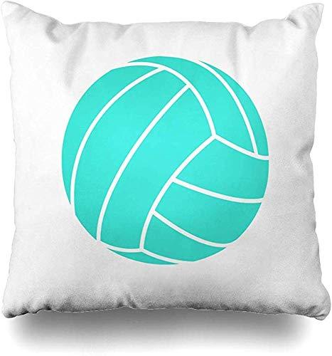New-WWorld-Shop Kissenbezüge Türkisblau Grün Volleyball Kissenbezug Quadratisches Sofa Niedlich 18 x 18 Zoll...