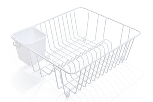 Smart Design Dish Drainer Rack - Small - In Sink or Counter Drying - Steel Metal Wire - Cutlery Plates Dishes Cups Silverware Organization - Kitchen White - 14 x 55 Inch