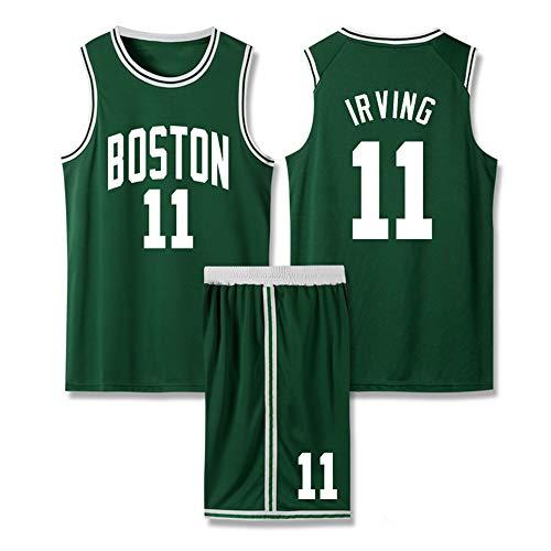 LSJ-ZZ Uomo Jersey NBA Boston Celtics # 11 Kyrie Irving Maniche Ricamato Uniforme di Basket Completo, Pantaloncini Maglia Top Comprese-Asciugatura Rapida Traspirante,4XL:180~185cm