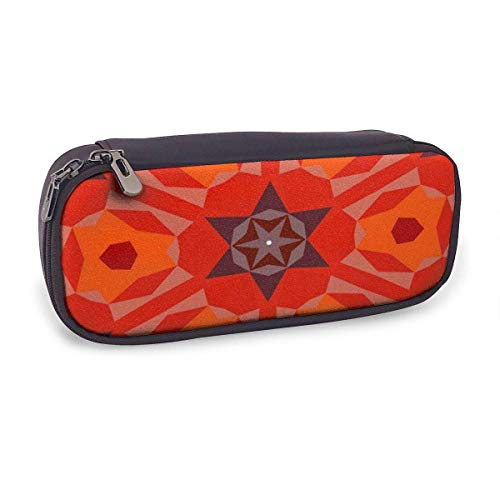 Estuche Escolar de Gran Capacidad,Patrón Geométrico Multicolor En Rojo Brillante,Bolsa de Lápiz Organizador para Material Papelería con Cremallera Doble