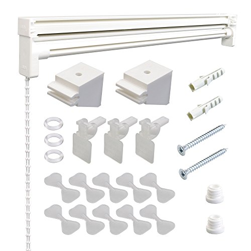 Liedeco Raffrollo Technik Raffvorhangtechnik ohne Stoff | Technik für Raffrollos zum selbst dekorieren | Weiss | Breite 120 cm