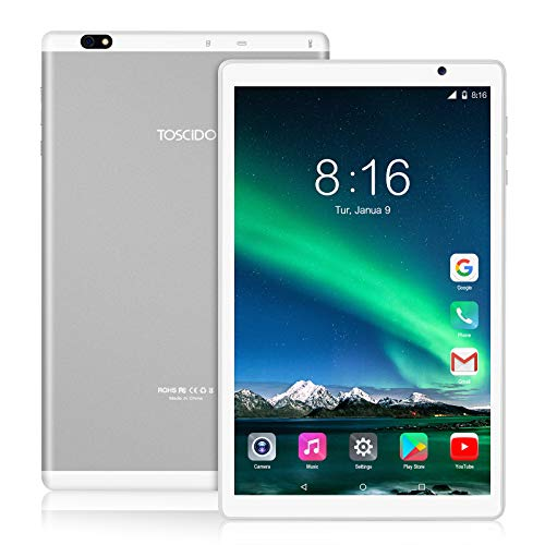 Tablet 10 Pollici 5G WiFi - TOSCIDO Android 10.0 , 1920x1200 HD IPS, Octa Core, 64G ROM, 4GB di RAM, 13MP e 5MP Camera, WiFi / Bluetooth5.0 / GPS, 6000 MAh, Tipo C - Argento