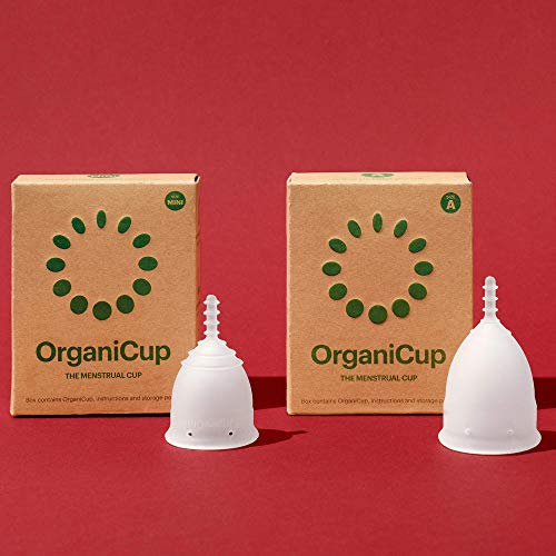 OrganiCup Menstrual Cup Starter Kit for Light Flow - Set of 2 Cups FDA Registered & 100% Medical Grade Silicone Reusable Period Cups – Sizes Mini + A