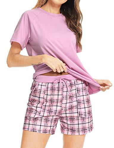 Aibrou Conjuntos de Pijama, Pijama de Cuadros Mujer Conjunto Camiseta y Pantalones a Cuadros Pijama Corta Mujer Elegante Manga Corta Suave Pijama Mujer 2 Piezas Rosado L