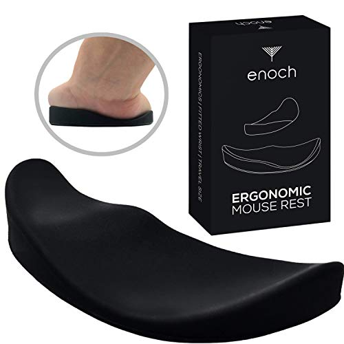 Enoch Ergonomic Mouse Wrist Rest, Palm Wrist Support Pad for Office Work, Gaming, Coding, Relief Sliding Gliding Wrist Pad (Black)