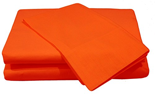 Maria Luxury Bedding & Linen Fitted Sheets - Luxury Plain Dyed Polycotton Bedding Bed Fitted Sheet (Double, Orange)