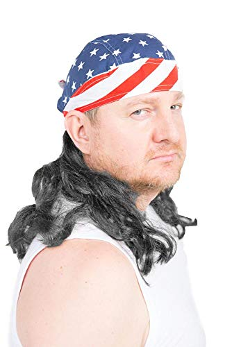 The Freebird Mullet Wig Skull Cap Red, White, Blue, Black Hair One...