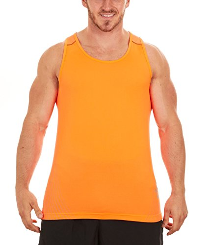 ASICS Men's Reflective Print Running Singlet (X-Large, Orange/Flint)