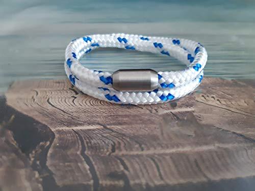 Handmade, Damen, Herren, Armband Edelstahl- Segelseil, Seil Wickel Armband Weiß/Blau, Größe frei wählbar