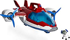 The 2-in-1 air Patroller transforms from helicopter to Plane mode for real Paw Patrol rescue missions! The Air Patroller has real lights and sounds! Press the button on top of the air patroller's handle to activate. The Air Patroller comes with a rob...