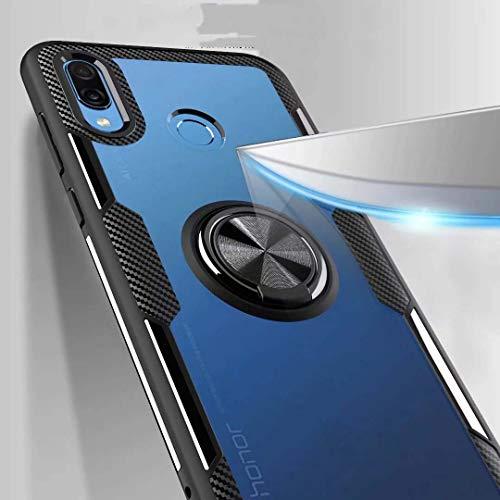 FANFO Huawei Honor Play Hülle, Rugged TPU/Transparent PC Transparent Hybrid Armor Fall und 360°Drehständer 3 in 1. schwarz - 6