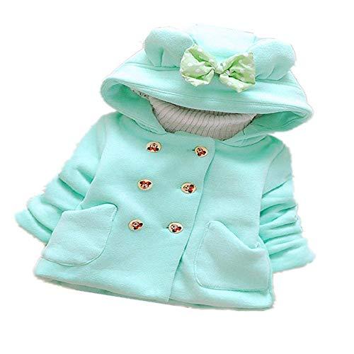 Winter Baby Parka Plus Dicker Samt Baby Mädchen Schneebekleidung Säugling Mädchen Oberbekleidung Mantel Zweireihige Schleife Kleinkind Mädchen Kleidung Gr. 100 cm, grün