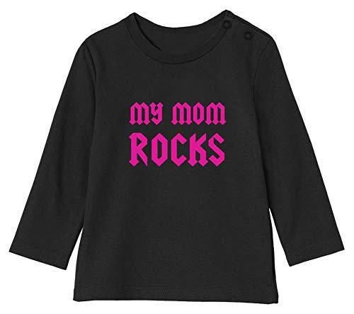 Fête des mères * My Mom Rocks T-Shirt Bébé Unisex Manches Longues 3-6M 60/66cm Noir