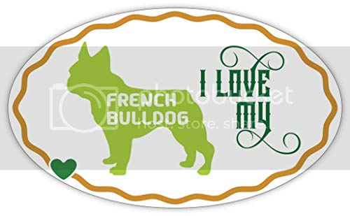Makoroni I Love My French Bulldog, CAR Magnet-Magnetic Bumper Sticker 3x5 or 4.5x7.5 inc, DesZ57