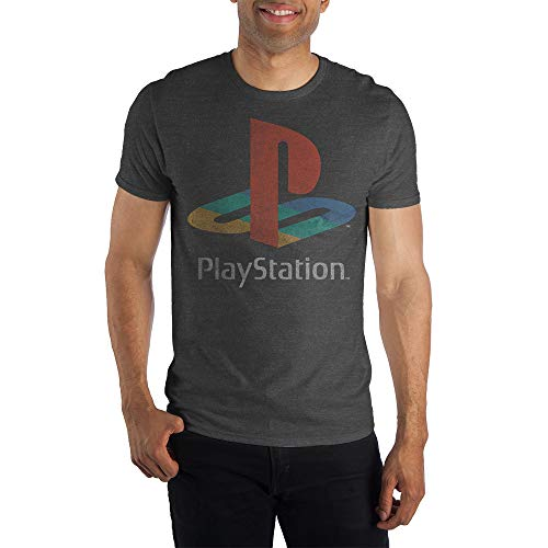 Sony Playstation Classic Logo Tee, PS1 PS2 Gaming Console, Rough Weathered Style on Charcoal T-Shirt - Medium