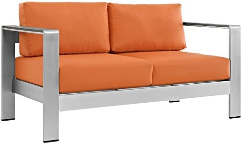 Best Modway Shore Aluminum Outdoor Patio Loveseat in Silver Orange