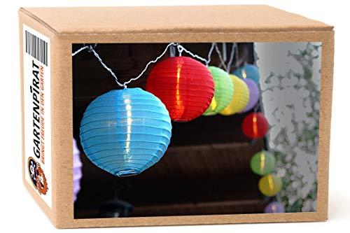 Lampion-Lichterkette mit 15x LED Lampion bunt Ø 15 cm groß mit Kabel/Strom außen