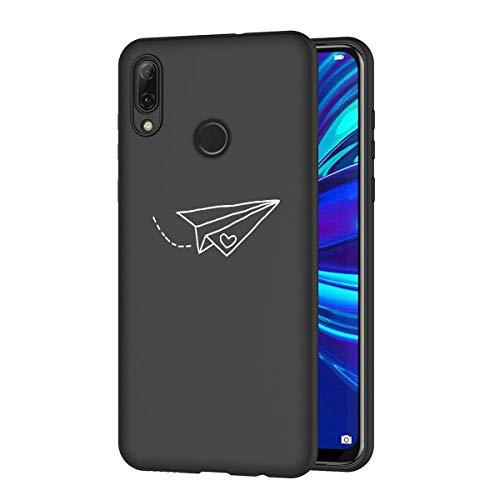 Zhuofan Plus Cover Huawei Psmart 2019, Custodia Silicone Nero Soft Tpu Gel con Design Print Pattern Antigraffio Antiurto Protactive Cover per Huawei Psmart 2019, Aereo di Carta