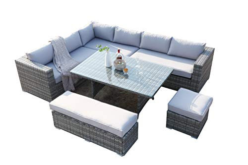 Ecosunny Rattan Garden Furniture Andrew 9 seaters Convertible Corner Sofa (288cm x 225cm x 81cm) Dining Table Set with Bench, Stool and Raincover, Flat pack - Mixed Grey Rattan and Light Grey Cushion