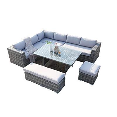 Ecosunny Rattan Garden Corner Sofa 9 9 Seater Dining Set