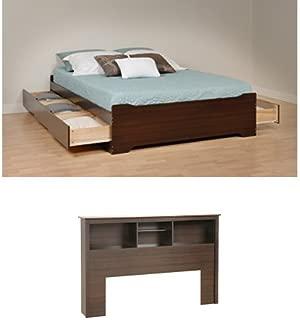 Prepac Fremont Queen Bed and Headboard - Espresso