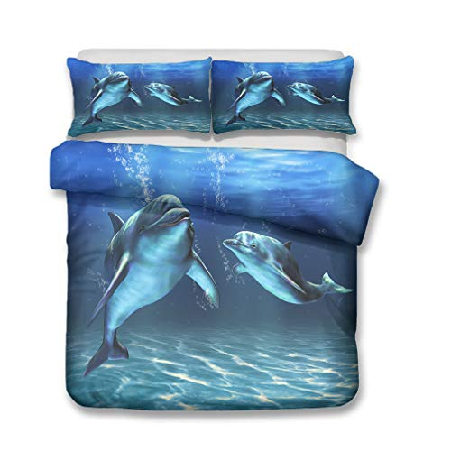 Juego de cama Delfín Modelo 3D Oceano Azul Cielo Arco Iris Amanecer Nubes Paisaje Funda nórdica y Funda de almohada, Ropa de Cama Niños Niño Niña Funda de edredón (B,150x200 cm - Cama 90 cm)