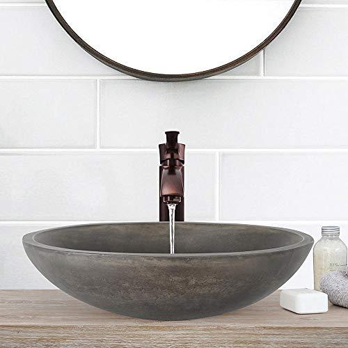 Magnus Home Products Large Lisman Oval Cast Concrete Vessel Bathroom Sink, Dusk Grey, 21 3/4' L x 15' W, 37.0 lb