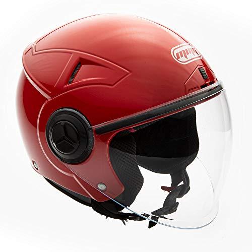MMG Motorcycle Scooter Pilot Open Face Helmet Flip-Up Visor DOT (Model 28) - Red, XL