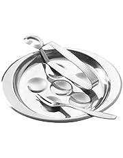 UPKOCH Bandeja para caracoles de acero inoxidable con 6 agujeros, pinzas, tenedor y cubiertos para caracoles, 3 unidades, color plateado