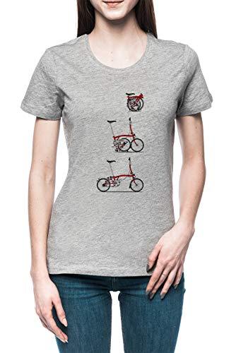 Yo Amor Mi Plegable Brompton Bicicleta Mujer Camiseta tee Gris Women's Grey T-Shirt
