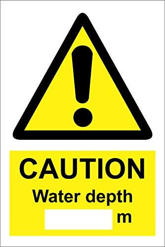 Etiqueta - Seguridad - Advertencia - Caution water depth (space) m sign 400mm x 300mm - Decal for Office - ficina, empresa, escuela, hotel
