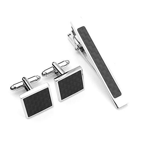 EVBEA Manschettenknöpfe Herren Krawattennadeln Edelstahl Silber Schwarz Krawattenklammer Set Für Krawatte im Geschenk-Box Vatertag Geeignet Herren Papa Vater