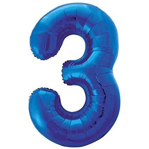 Riesenzahl 3 Luftballon - 86 cm - Blau