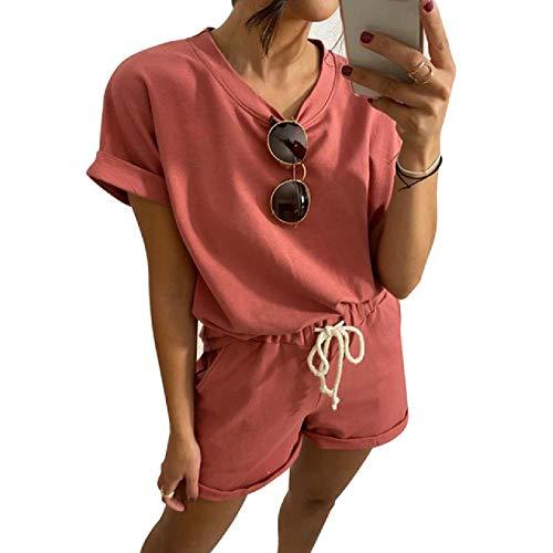Conjunto de Pijama de Traje de Dos Piezas para Mujer Conjunto de Pijama de Ocio de Color sólido con Cintura elástica Conjunto de Cuello Redondo