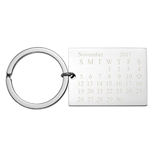 Personalized Master Free Engraving Custom Date Calendar Keychain with Heart, Custom Date Pendant Key Ring for Lovers Couples Valentine's Day Birthday Anniversary Special Day Gift