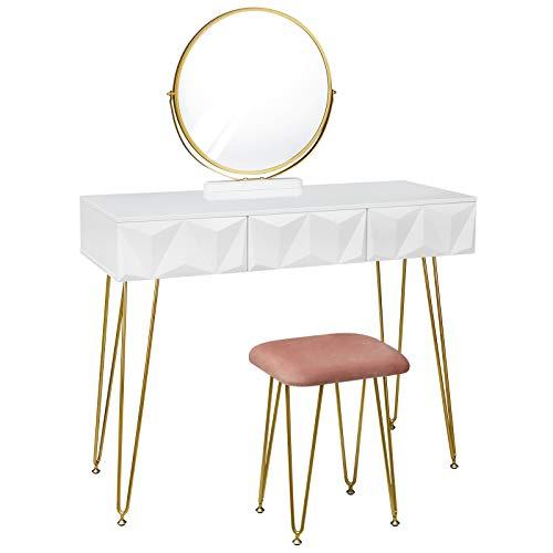 eSituro SDT0042 Schminktisch mit Hocker und 360° schwenkbar Schminkspiegel, Kosmetiktisch mit 3 Schubladen, Frisiertisch mit gepolsterter Samthocker, 3D Effekt Schublade, Weiß+Golden