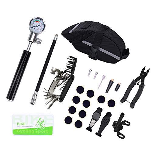 WMSD Kit de herramientas de reparación de bicicletas 16 en 1 Kit de reparación de pinchazos de bomba de neumáticos con bolsa